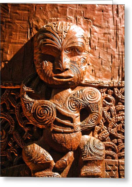 Wooden Sculpture Greeting Cards - Wood Carving of Single Figure Greeting Card by Linda Phelps