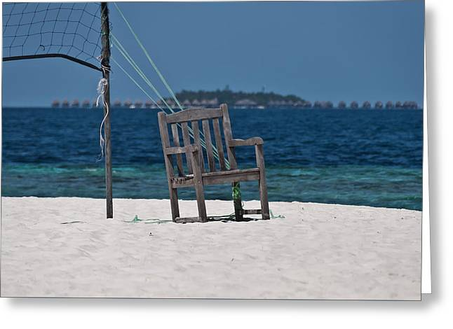 Beach Photos Greeting Cards - Wood chair and volleyball net Greeting Card by Beth Wolff