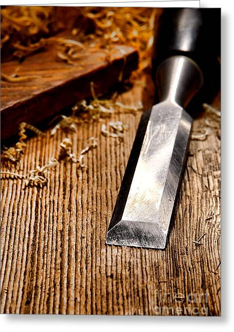 Carpenter Greeting Cards - Wood Chisel Greeting Card by Olivier Le Queinec