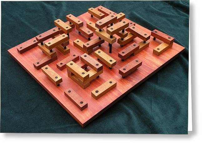 Geometric Sculptures Greeting Cards - Wood Construction #1 Greeting Card by Dave Martsolf