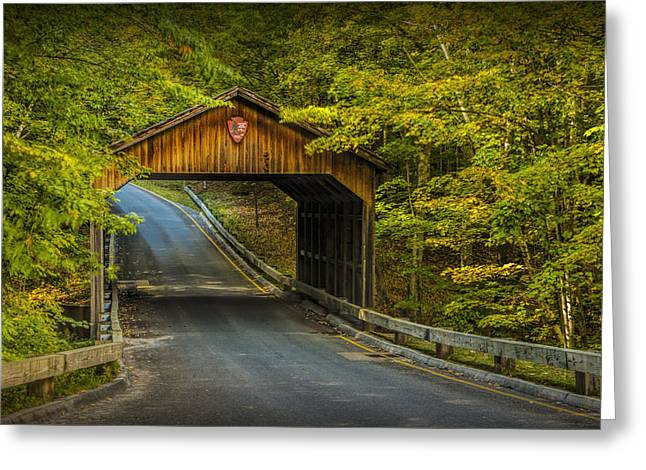 Wood Covered Bridge In Autumn At Sleeping Bear Dunes Greeting Card by Randall Nyhof