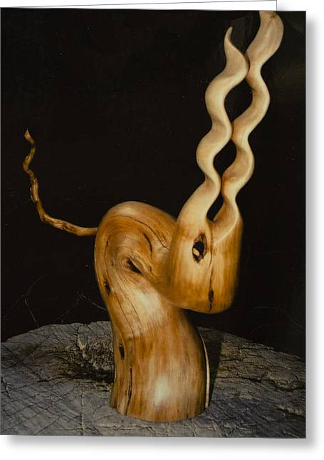 Tail Sculptures Greeting Cards - Wood Creature Greeting Card by Daniel P Cronin