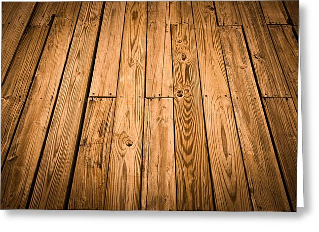 Wood Plank Flooring Greeting Cards - Wood Deck Background Greeting Card by Brandon Bourdages