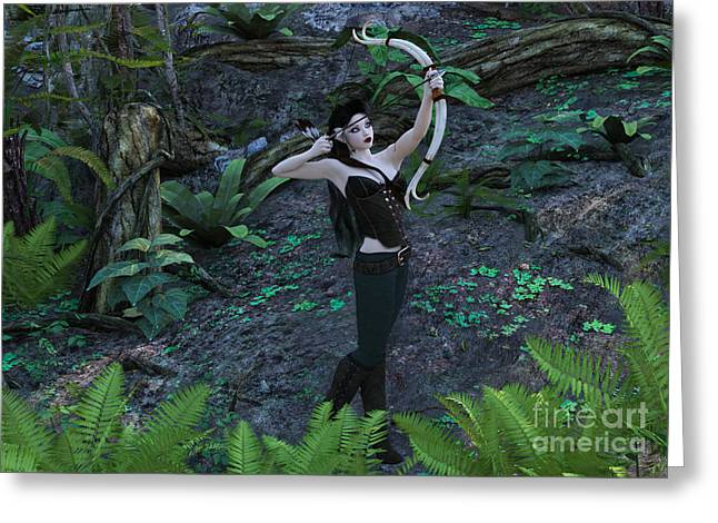 Elven Archer Greeting Cards - Wood Elf Archer Female in Woods Greeting Card by Elle Arden Walby