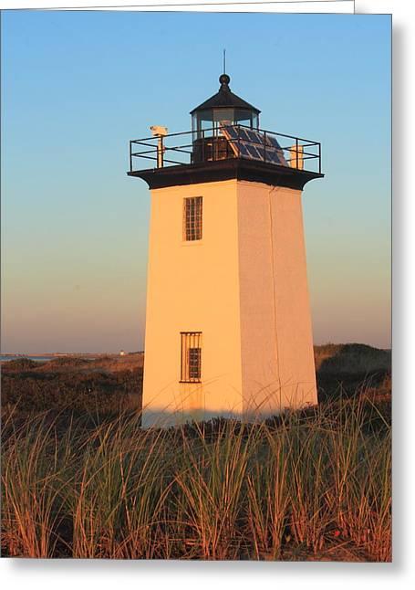 Massachusetts Coast Greeting Cards - Wood End Lighthouse Cape Cod Evening Light Greeting Card by John Burk