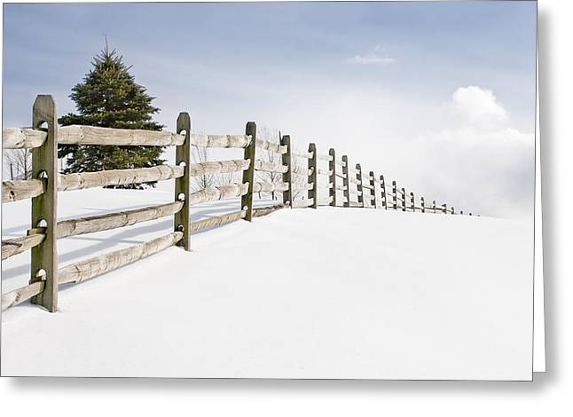 Snow Scenes Greeting Cards - Wood fence - old wood fence in the pristine white snow Greeting Card by Gary Heller
