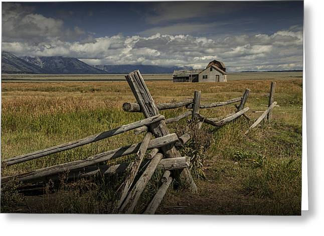Brown Tones Greeting Cards - Wood Fence with John Moulton Farm in the background Greeting Card by Randall Nyhof