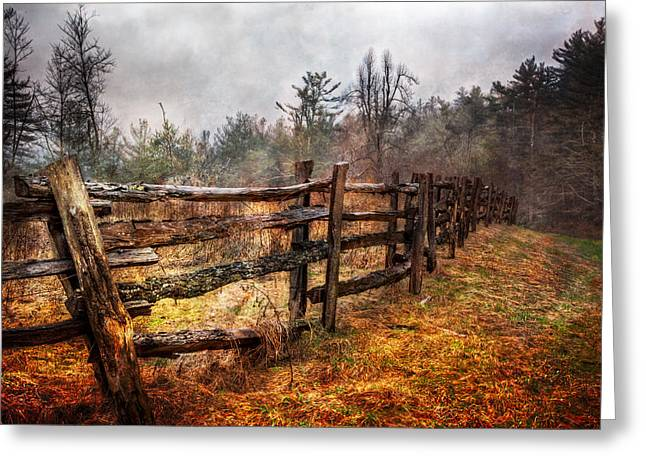 Tennessee Barn Greeting Cards - Wood Fences Greeting Card by Debra and Dave Vanderlaan