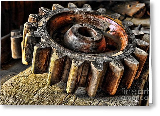 Cog Greeting Cards - Wood Gears Greeting Card by Olivier Le Queinec