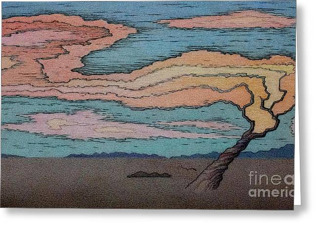 Bare Trees Drawings Greeting Cards - Wood Grain Sunset Greeting Card by Ben Sapia