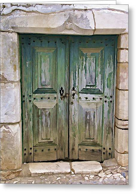 Entranceway Greeting Cards - Wood Green Weathered Castle Door Greeting Card by David Letts