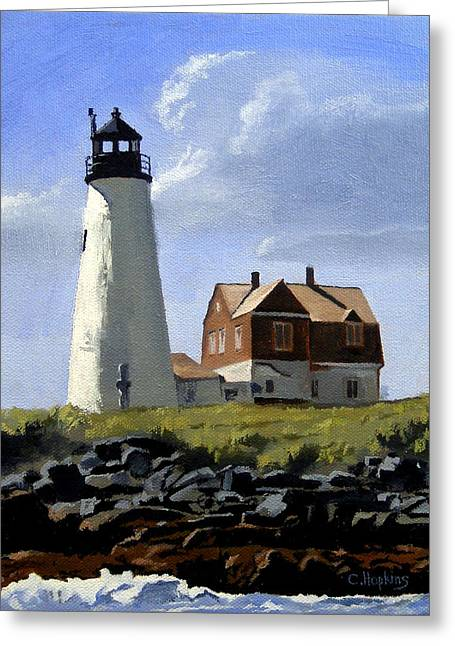 Nubble Lighthouse Paintings Greeting Cards - Wood Island Lighthouse Maine Greeting Card by Christine Hopkins