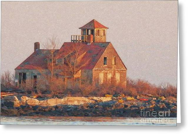 Industrial Background Greeting Cards - Wood Island Greeting Card by Marcia Lee Jones