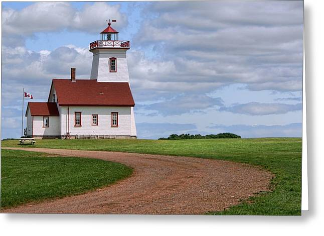 Interpretive Greeting Cards - Wood Islands Lighthouse - PEI Greeting Card by Nikolyn McDonald