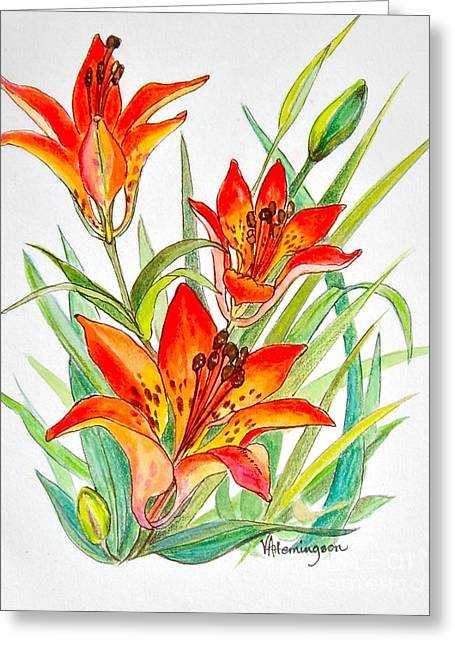 Canmore Artist Greeting Cards - Wood Lily Greeting Card by Virginia Ann Hemingson