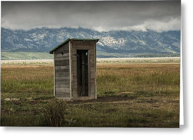 Brown Tones Greeting Cards - Wood Outhouse on Mormon Row in the Grand Tetons Greeting Card by Randall Nyhof