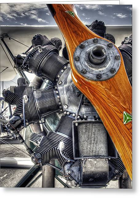 Aircraft Engine Greeting Cards - WOOD PROP and ENGINE Greeting Card by Daniel Hagerman