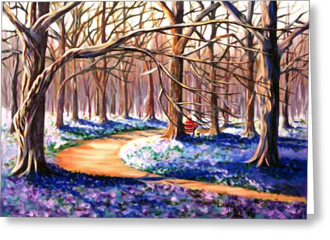 Park Scene Paintings Greeting Cards - Wood scene with spring crocus fields Greeting Card by Nicoletta Filarski