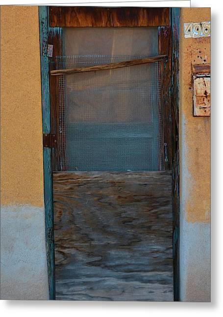 Screen Doors Greeting Cards - Wood Screen Adobe Door Greeting Card by Richard Jenkins