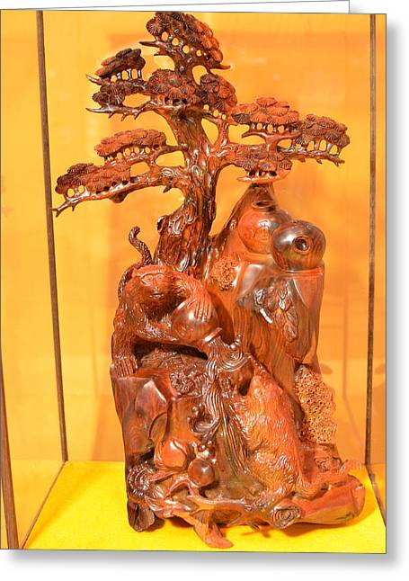 Power Sculptures Greeting Cards - Wood sculpture - Noble monkey Greeting Card by Shui Li Chen