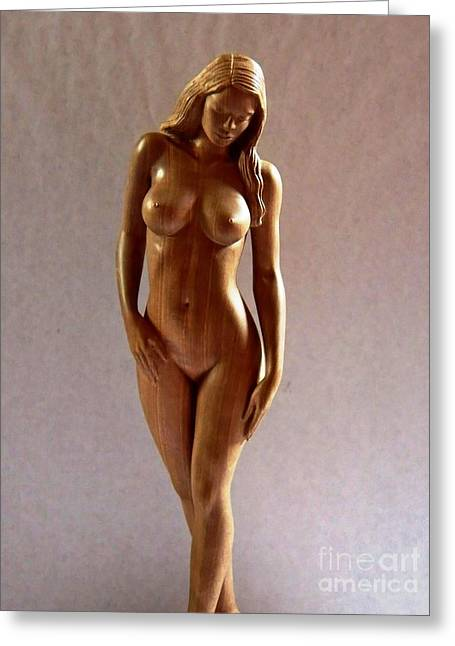 Art Sale Sculptures Greeting Cards - Wood Sculpture of Naked Woman - Front View Greeting Card by Carlos Baez Barrueto