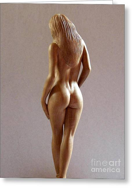 Body Sculptures Greeting Cards - Wood Sculpture of Naked Woman - Rear View Greeting Card by Carlos Baez Barrueto