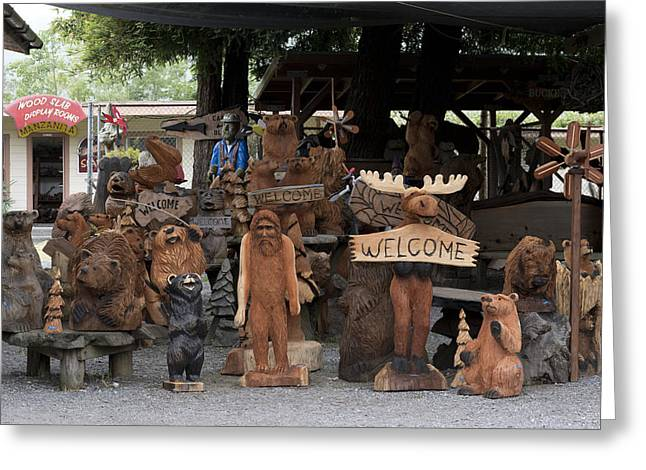 Wood Sculpture Greeting Cards - Wood Sculptures in Northern California Greeting Card by Carol M Highsmith