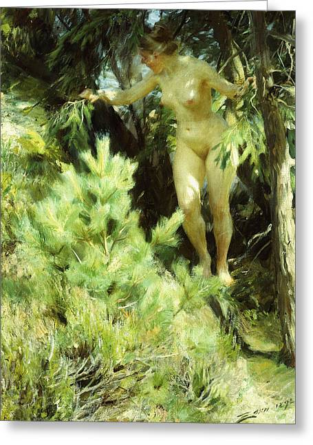 Natural Space Greeting Cards - Wood-Sprite Greeting Card by Anders Leonard Zorn