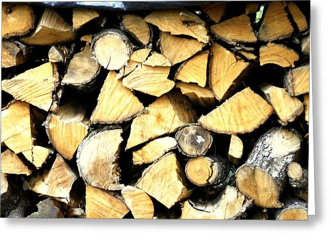 Woodpile Greeting Cards - Wood Stack Greeting Card by Nomad Art And  Design