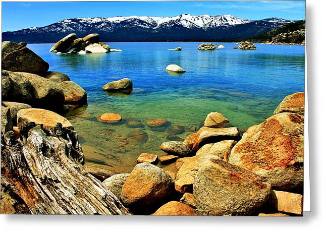 California Lakes Greeting Cards - Wood Stone Water Greeting Card by Benjamin Yeager
