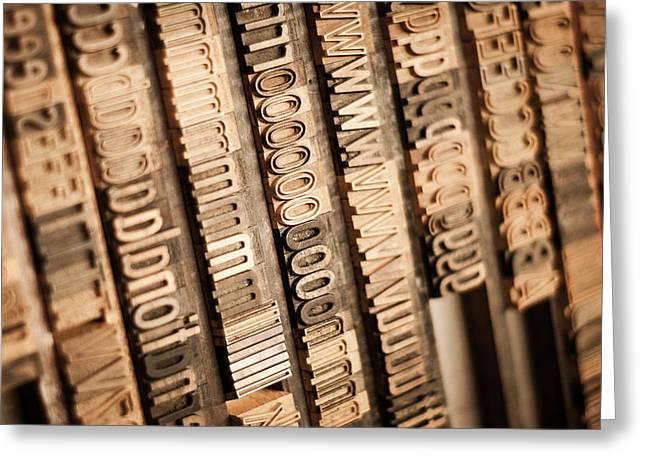 Printmaking Photographs Greeting Cards - Wood Type Greeting Card by Chris Bordeleau