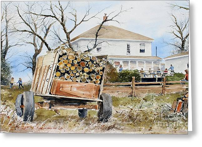 Wood Wagon Greeting Card by Monte Toon