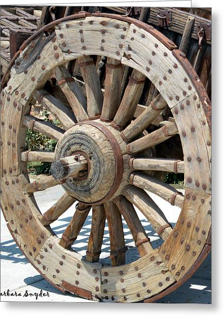 Wooden Wagons Greeting Cards - Wood Wheel Greeting Card by Barbara Snyder
