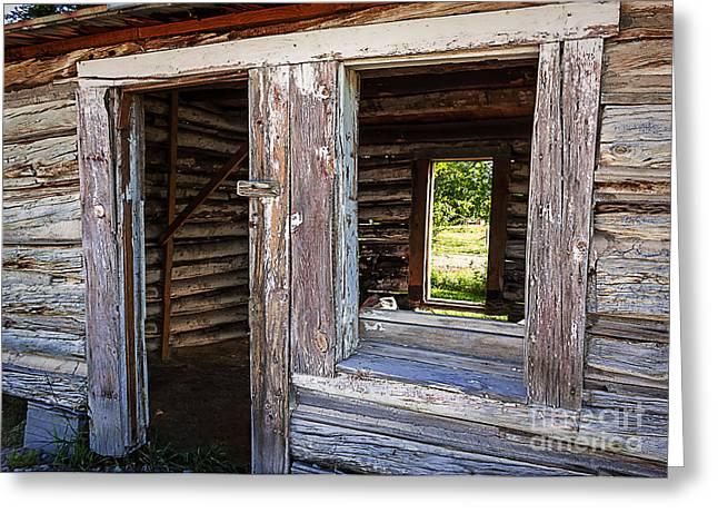 Log Cabin Interiors Greeting Cards - Wood  Windows and Doors Greeting Card by Janice Rae Pariza