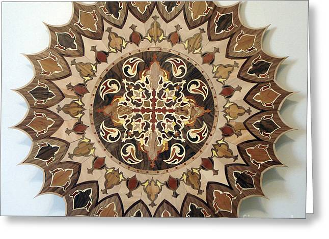 Round Reliefs Greeting Cards - Wood Work Marquetry Embossed Relief Wood Carving Greeting Card by Persian Art