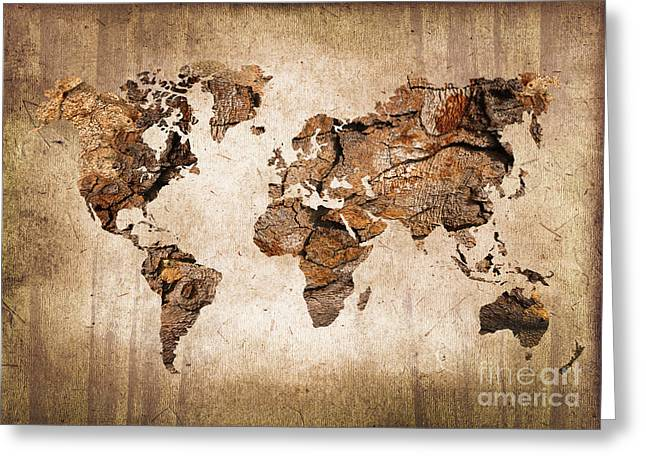 Future World Greeting Cards - Wood World map Greeting Card by Delphimages Photo Creations