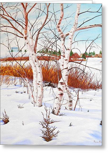 Thomas Faires Greeting Cards - Woodbine Park Birches Greeting Card by Thomas Faires