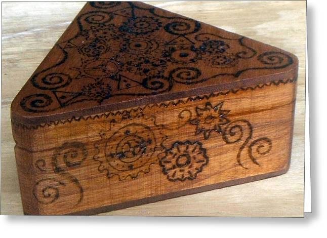 Desk Sculptures Greeting Cards - Woodburned Steampunk Jewlrey box Greeting Card by Bethany Jordan