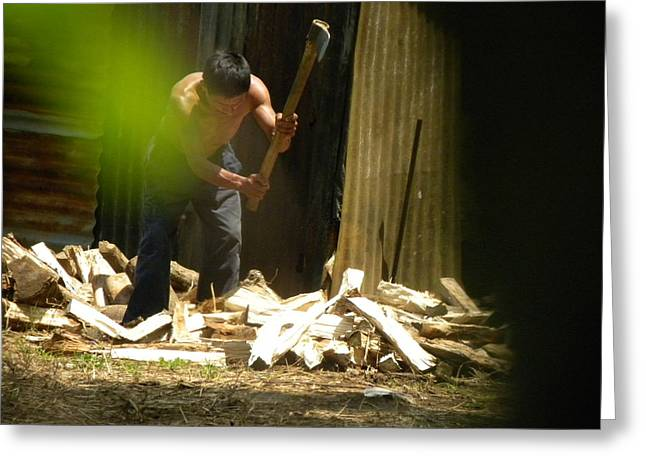 Metal Sheet Greeting Cards - Woodcutter Greeting Card by Manuel Merida