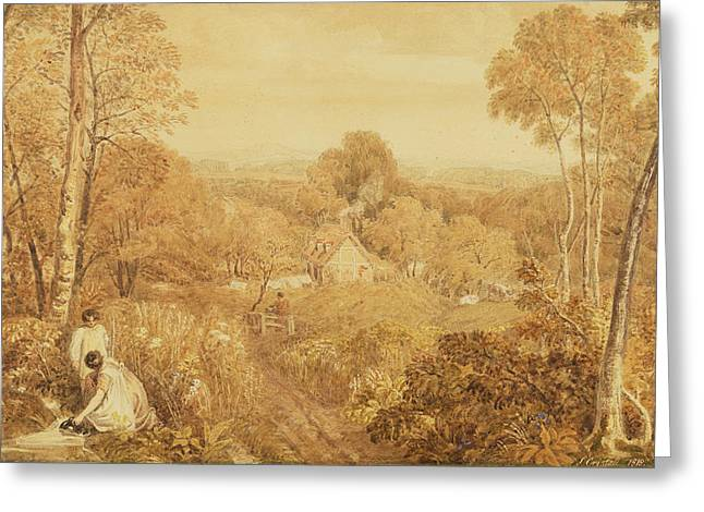 Cottage Photographs Greeting Cards - Wooded Landscape With Cottages And Countrywomen, Hurley, Berks, 1818 Wc Over Graphite On Paper Greeting Card by Joshua Cristall