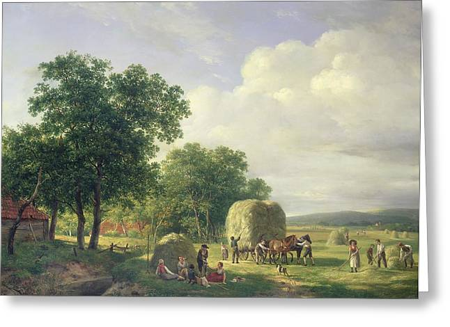 Tall Trees Greeting Cards - Wooded Landscape with Haymakers Greeting Card by Hendrick van de Sande Bakhuyzen
