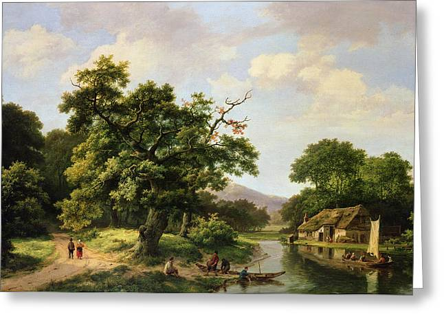 Boat House Row Greeting Cards - Wooded River Landscape with Peasants Unloading a Ferry Greeting Card by Marinus Adrianus Koekkoek