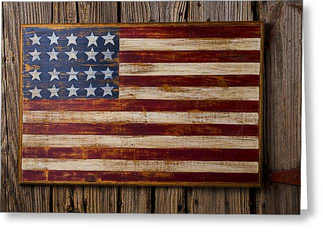 Color Glory Greeting Cards - Wooden American flag on wood wall Greeting Card by Garry Gay