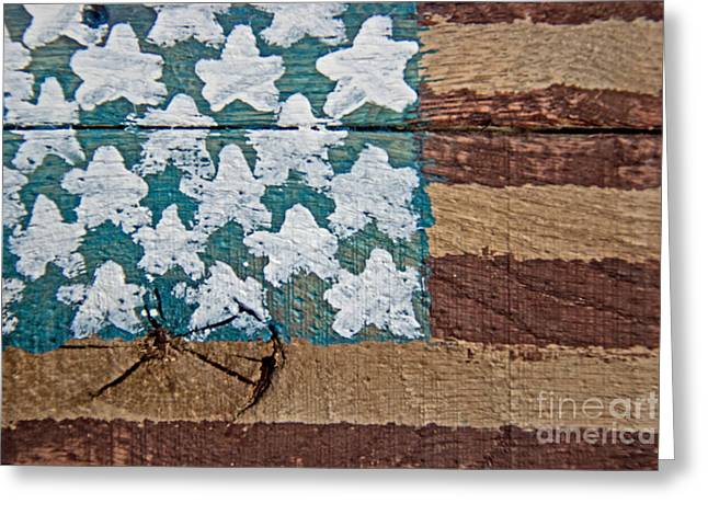 Flag Of Usa Greeting Cards - Wooden American Flag Greeting Card by Tom Gari Gallery-Three-Photography