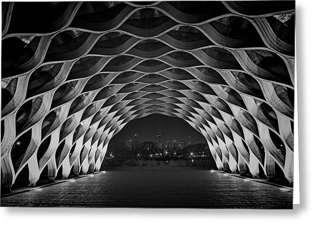 Wooden Building Greeting Cards - Wooden Archway with Chicago skyline in black and white Greeting Card by Sven Brogren