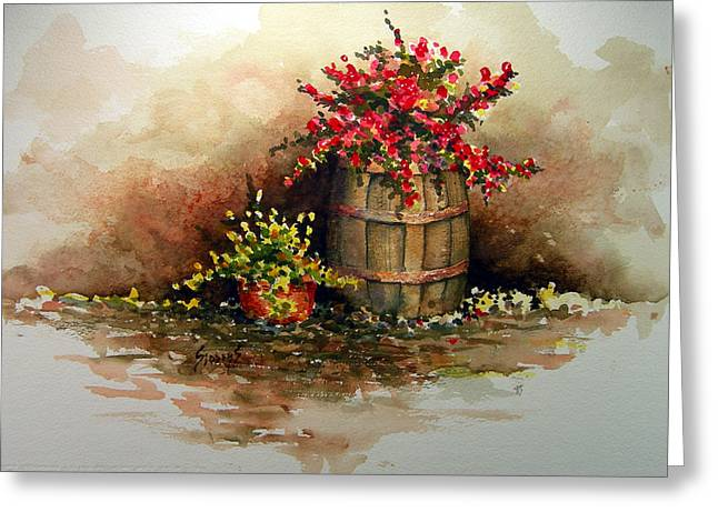 Barrels Greeting Cards - Wooden Barrel with Flowers Greeting Card by Sam Sidders