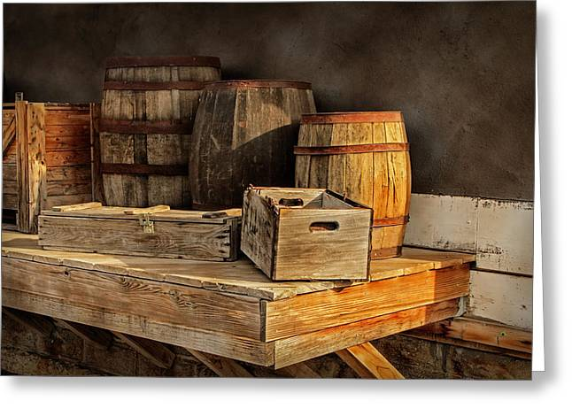 Wooden Platform Greeting Cards - Wooden Barrels and Crates on a shelf at a Railroad Station Greeting Card by Randall Nyhof