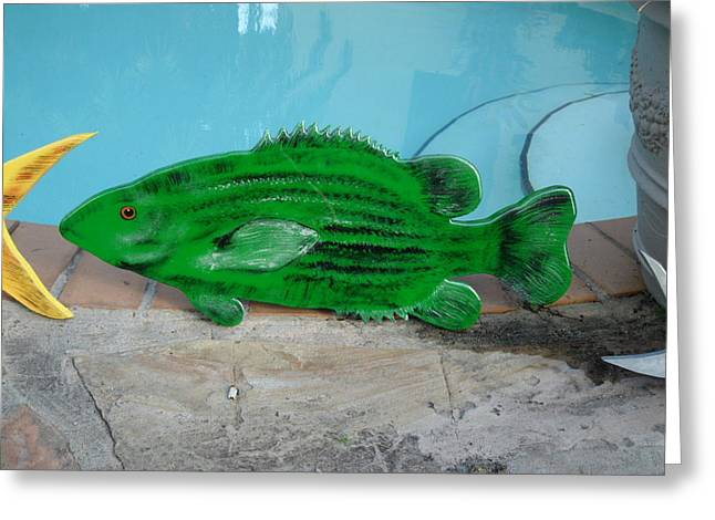 Bass Fish Mixed Media Greeting Cards - Wooden Bass Fish Greeting Card by Val Oconnor