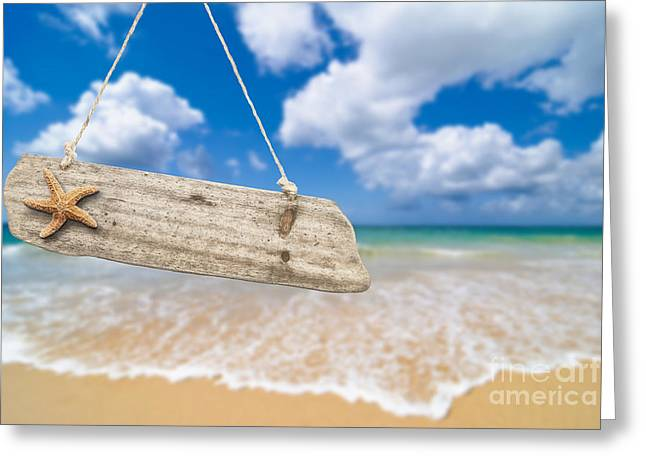 Wooden Beach Sign Algarve Portugal Greeting Card by Amanda And Christopher Elwell