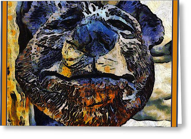 Wooden Sculpture Digital Greeting Cards - Wooden Bear Sculpture Greeting Card by Barbara Snyder